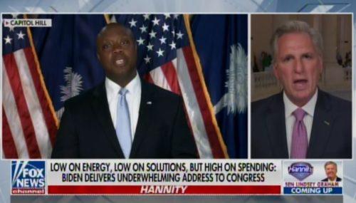 GOP ELITES DUMP TRUMP! Weakling Kevin McCarthy and RINO Lindsey Graham Push Tim Scott for President After His Rebuttal to China Joe (VIDEO)