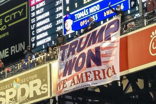 """GLORIOUS! Another Huge """"TRUMP WON"""" Banner – This Time at Citi Field at Saturday Night's Mets Game – Even NEW YORK is Waking Up to TRUMP WON"""